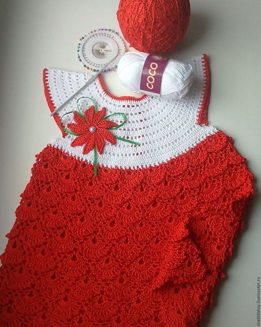 Одежда для девочек, ручной работы. Ярмарка Мастеров - ручная работа. Купить Платье детское. Handmade. Ярко-красный, белый цвет