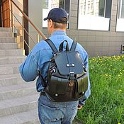 Сумки и аксессуары handmade. Livemaster - original item Backpack leather black male Everest Mod R35-111. Handmade.