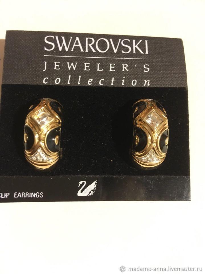 Vintage Jewelry Livemaster Handmade Swarovski Swan Clip Earrings Large