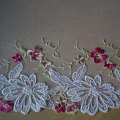 Кружево ручной работы. Ярмарка Мастеров - ручная работа Кружево на сетке Весенние цветы 19см. Handmade.