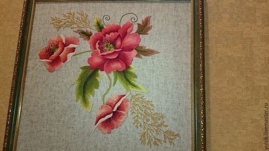 Картины цветов ручной работы. Ярмарка Мастеров - ручная работа. Купить маки. Handmade. Бордовый, вышивка ручная, картина, лён