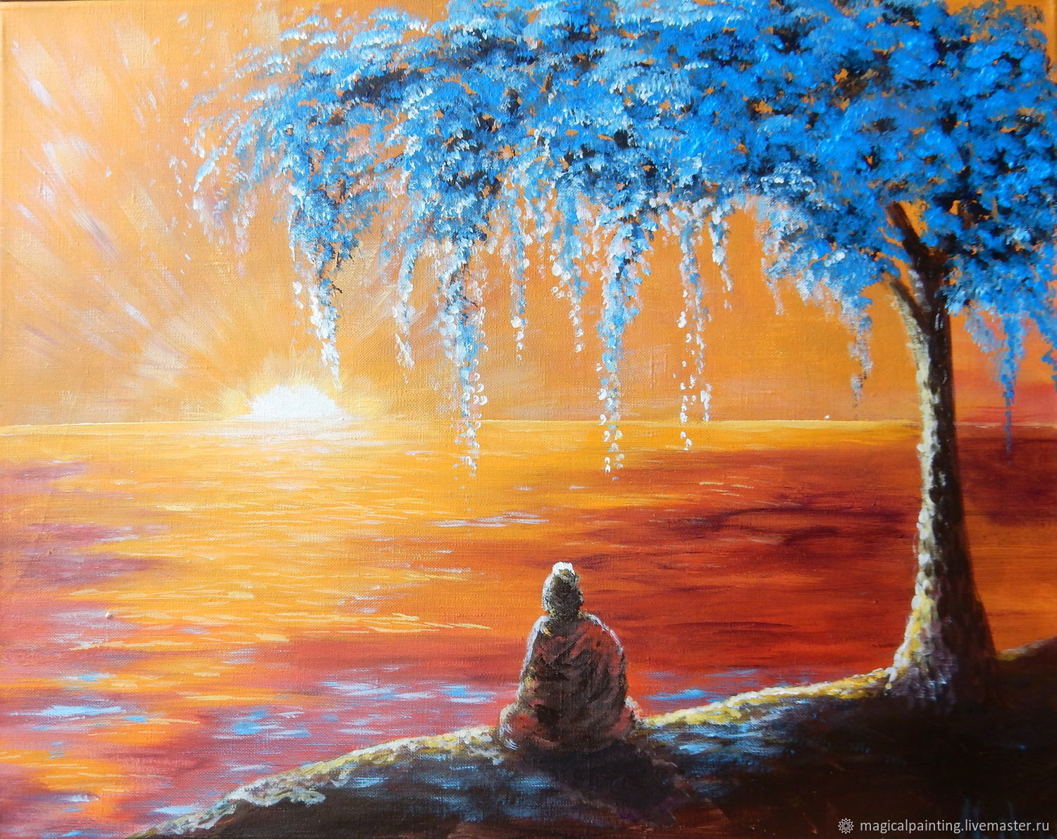 Painting 'Meditation under the tree' to order, Pictures, St. Petersburg,  Фото №1