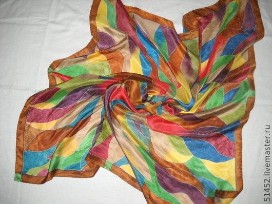 Шали, палантины ручной работы. Ярмарка Мастеров - ручная работа. Купить Шелковый платок батик Жар-птица. Handmade. Орнамент