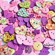 Материалы для творчества handmade. Livemaster - original item A set of buttons 10pcs hearts