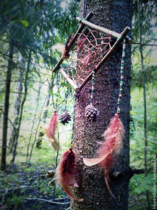 """Ловцы снов ручной работы. Ярмарка Мастеров - ручная работа. Купить """"Шишкин Лес"""" - необычный ловец снов-ромб из природных материалов. Handmade."""