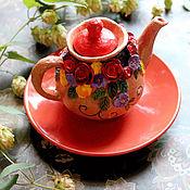 Посуда ручной работы. Ярмарка Мастеров - ручная работа Рыжий карамельный чайник.. Handmade.