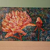 """Картины ручной работы. Ярмарка Мастеров - ручная работа """"Пионы"""" - абстрактные пионы акрилом 15/25 см. Handmade."""