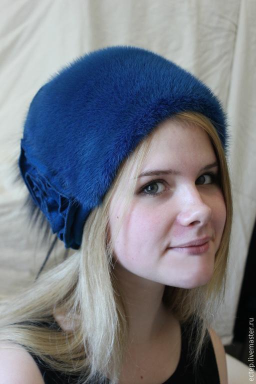 """Шапки ручной работы. Ярмарка Мастеров - ручная работа. Купить """"Марго"""" В синем варианте.. Handmade. Меховая шапка"""