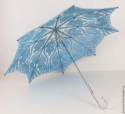 Зонты ручной работы. Ярмарка Мастеров - ручная работа. Купить Зонт-трость Листья голубой. Handmade. Голубой, аксессуары для невесты