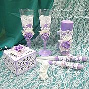 Свадебный салон ручной работы. Ярмарка Мастеров - ручная работа Свадебный набор Сиреневый + Белый. Handmade.