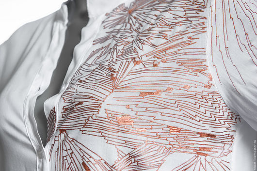 Блузки ручной работы. Ярмарка Мастеров - ручная работа. Купить Медные нити. Handmade. Белый, ручная роспись, Единичный экземпляр