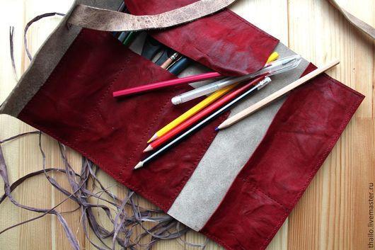 Пеналы ручной работы. Ярмарка Мастеров - ручная работа. Купить Пенал (винтажный+бордовый). Handmade. Разноцветный, пенал, аксессуары из кожи