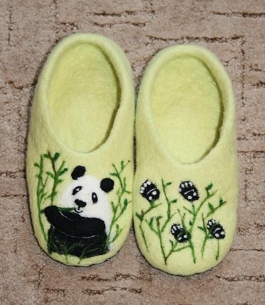 """Обувь ручной работы. Ярмарка Мастеров - ручная работа. Купить Домашние тапочки """"Панда"""". Handmade. Домашние тапочки, панда"""