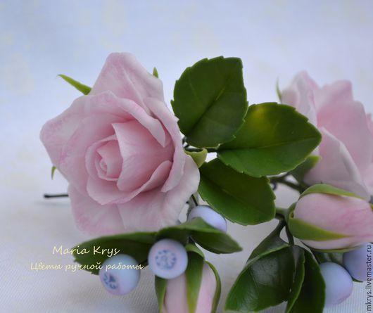 Заколки ручной работы. Ярмарка Мастеров - ручная работа. Купить Шпилечки. Handmade. Бледно-розовый, розы, полимерная глина