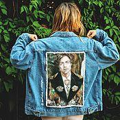 Одежда handmade. Livemaster - original item Denim jacket with Harry Styles print. Harry Styles Clothing Painting. Handmade.