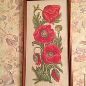 Картины и панно ручной работы. Ярмарка Мастеров - ручная работа Картина крестиком Маки. Handmade.