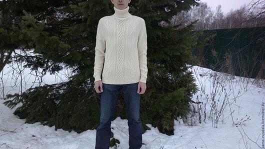 Кофты и свитера ручной работы. Ярмарка Мастеров - ручная работа. Купить свитер белый. Handmade. Мужской свитер, 100% шерсть