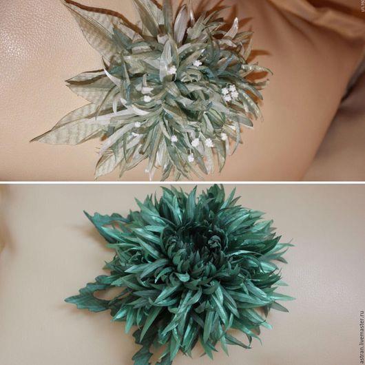 Цветы ручной работы. Ярмарка Мастеров - ручная работа. Купить Хризантема из ткани. Handmade. Мятный, бисер, хризантема, брошь из ткани