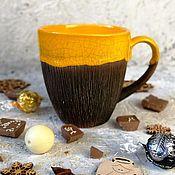 Кружки ручной работы. Ярмарка Мастеров - ручная работа Вкусная кружка, солнечная желтая чашка кокос для чая. Handmade.