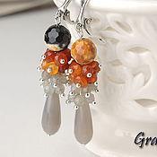 Украшения handmade. Livemaster - original item Long black and orange earrings. Handmade.