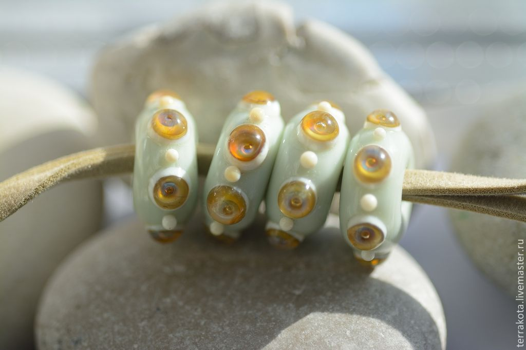 Beads for bracelet 'Italian morning' lampwork, Beads1, Chelyabinsk,  Фото №1