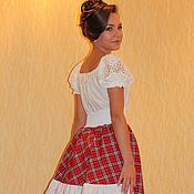Одежда handmade. Livemaster - original item Boho skirt Amazon red-white checkered. Handmade.