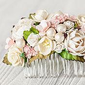 Украшения ручной работы. Ярмарка Мастеров - ручная работа Нежный гребень для волос, украшение для волос, розовые цветы. Handmade.