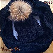 Аксессуары handmade. Livemaster - original item Black hat and Snood from warm Merino