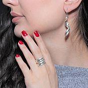 Украшения handmade. Livemaster - original item Minima Series Curl ring and earrings in combination silver. Handmade.