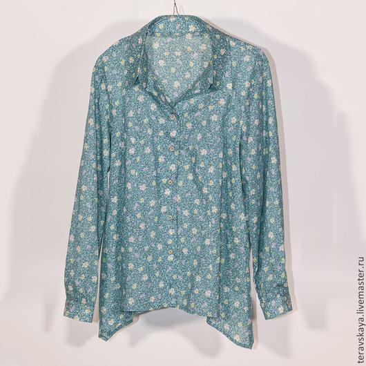 Блузки ручной работы. Ярмарка Мастеров - ручная работа. Купить Рубашка  Анеса. Handmade. Рубашка, бирюзовый цвет, стильная рубашка
