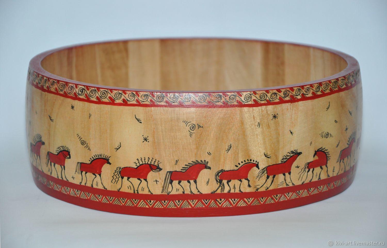 Большой открытый деревянный короб `23 лошадки` в стиле мезенской росписи Кисель Вероника