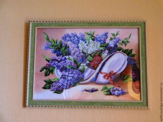 """Картины цветов ручной работы. Ярмарка Мастеров - ручная работа. Купить Картина """"Сирень"""" (вышивка бисером) отложена. Handmade. шляпа"""