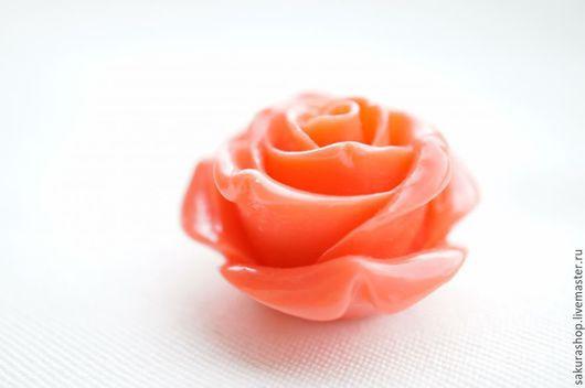 Для украшений ручной работы. Ярмарка Мастеров - ручная работа. Купить Роза из пресс коралл бусина подвеска 35мм. Handmade.