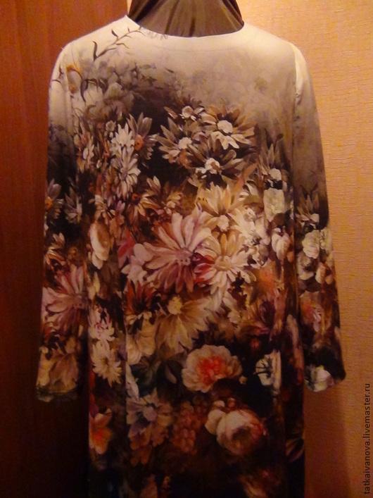 Большие размеры ручной работы. Ярмарка Мастеров - ручная работа. Купить трикотажное платье. Handmade. Серебряный, цветочный, трикотаж вискоза
