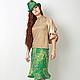 Юбки ручной работы. Ярмарка Мастеров - ручная работа. Купить Дизайнерская валяная юбка из шерсти Сияние изумруда. Handmade. Зеленый
