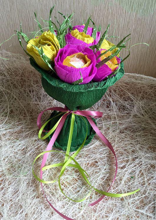Персональные подарки ручной работы. Ярмарка Мастеров - ручная работа. Купить Букет из конфет. Handmade. Комбинированный, композиция из цветов, ленты
