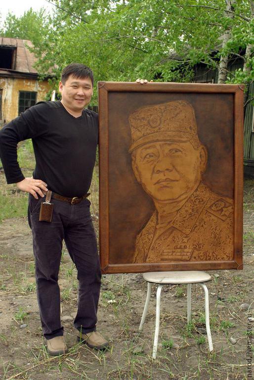 Тиснёный портрет на коже (пример), , Кызыл, Фото №1