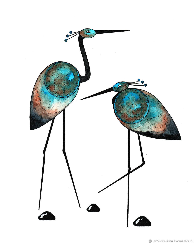 """Принт """"Цапли"""" для скачивания и печати, Иллюстрации и рисунки, Москва,  Фото №1"""