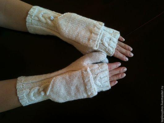 Варежки, митенки, перчатки ручной работы. Ярмарка Мастеров - ручная работа. Купить Варежки трансформеры. Handmade. Белый, варежки вязаные
