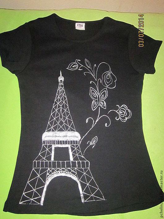 """Футболки, майки ручной работы. Ярмарка Мастеров - ручная работа. Купить Футболка """"Paris-Paris"""". Handmade. Черный, орнамент, футболка"""