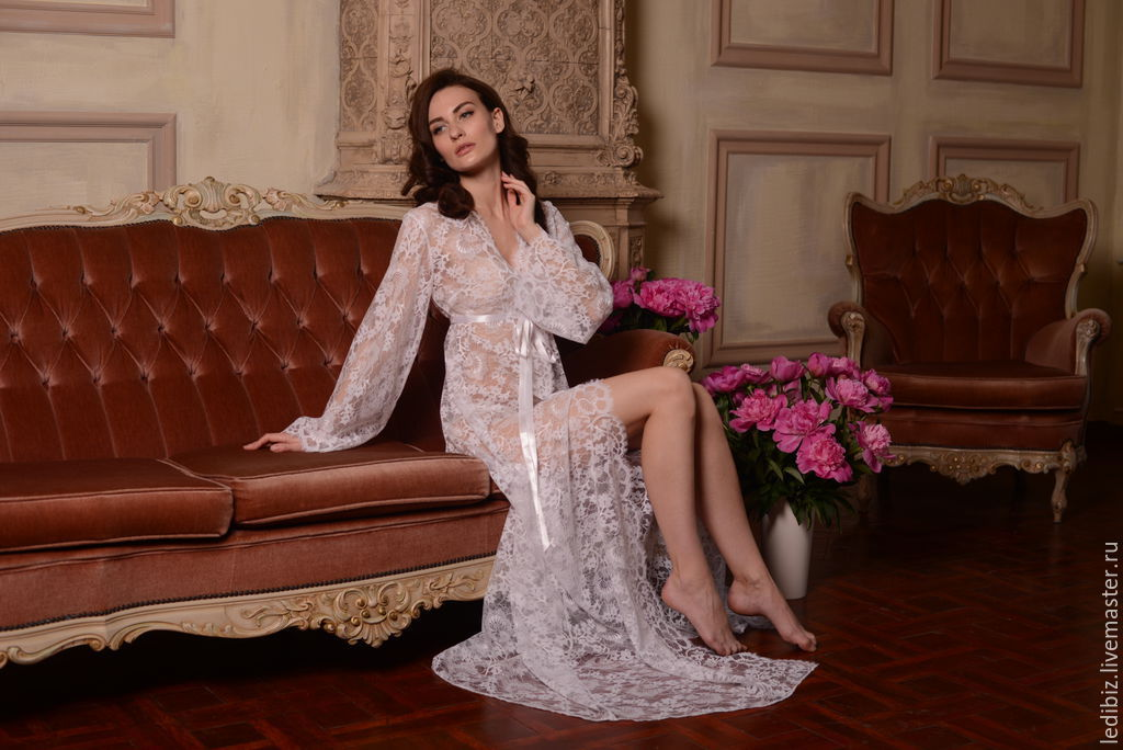 Long Lace Bridal Robe F3(Lingerie, Nightdress), Bridal Lingerie ...