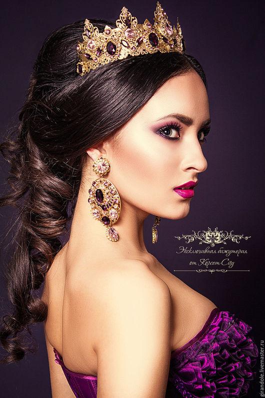 Диадемы, обручи ручной работы. Ярмарка Мастеров - ручная работа. Купить Тиара-корона для волос «Золотой век»  в стиле D & G ободок. Handmade.