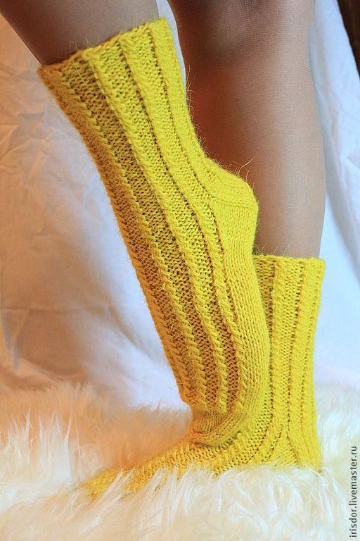 """Носки, Чулки ручной работы. Ярмарка Мастеров - ручная работа. Купить Вязаные носки  """"Солнечные"""". Handmade. Желтый, носки спицами"""