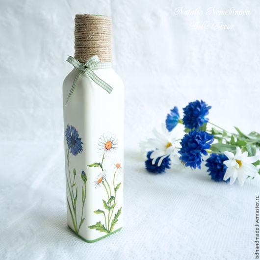 Вазы ручной работы. Ярмарка Мастеров - ручная работа. Купить Ваза-бутылка с полевыми цветами (эко стиль). Handmade. Зеленый