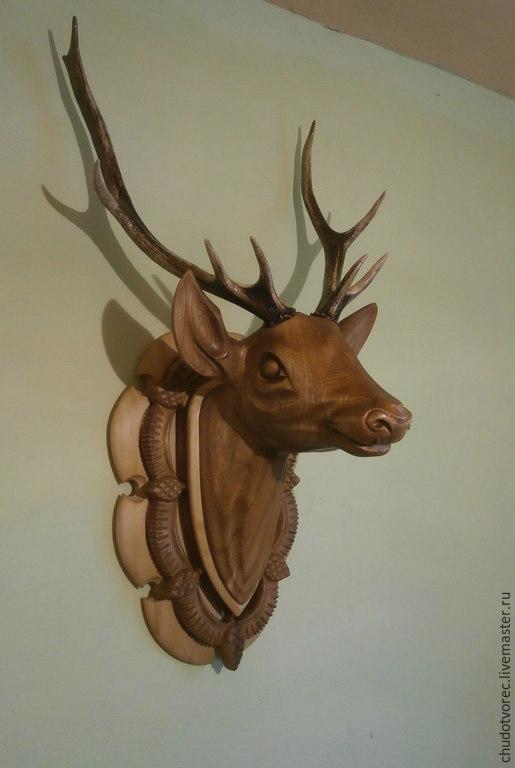Деревянная голова оленя. Купить.
