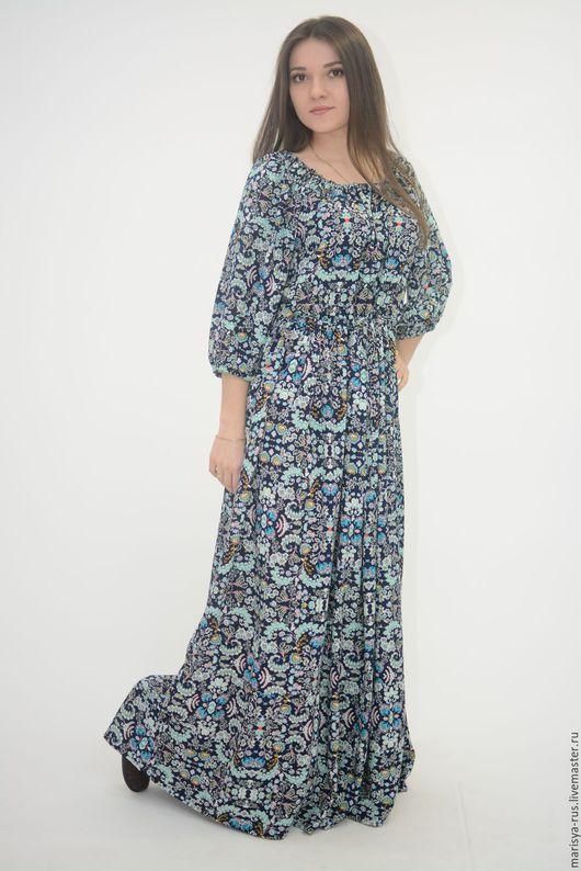 """Платья ручной работы. Ярмарка Мастеров - ручная работа. Купить Платье """"Крестьянка"""". Handmade. Тёмно-синий, длинное летнее платье"""