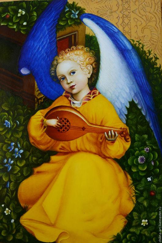 Иконы ручной работы. Ярмарка Мастеров - ручная работа. Купить Ангел с лютней. Handmade. Разноцветный, картина в подарок, под старину