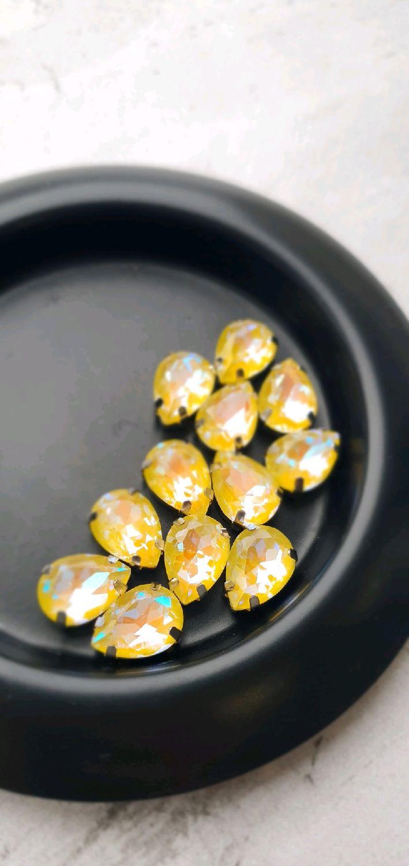 Кристалл 10х14мм в оправе серебро Желтый, Аксессуары для вышивки, Тольятти,  Фото №1