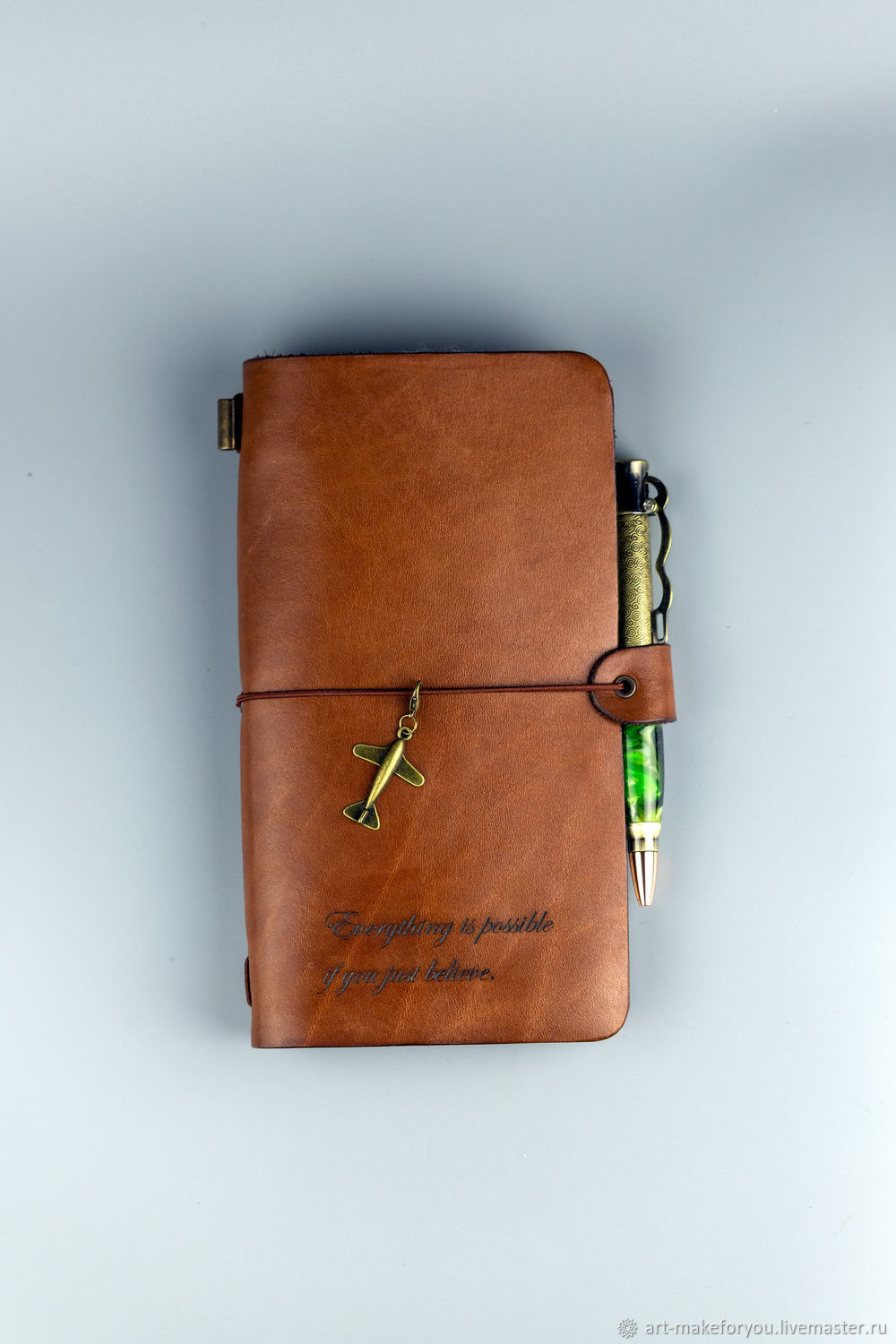 Leather Midori Notebook with engraving, Notebooks, Moscow,  Фото №1