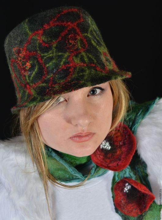 """Шапки ручной работы. Ярмарка Мастеров - ручная работа. Купить Валяная шерстяная шапка-шляпа """"Neiro"""". Handmade. Тёмно-зелёный"""